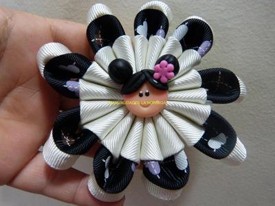 Como elaborar flores  moños lazos combinados para accesorios paso a paso