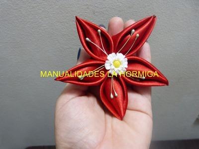 Como elaborar  una flor en citas para el cabello  paso a paso . vídeo No. 202