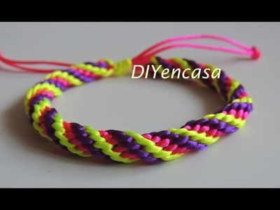 Como hacer una pulsera Kumihimo en tres colores. bracelet kumihimo.