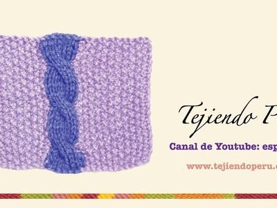 Como tejer una trenza u ocho sobre base en otro color de lana