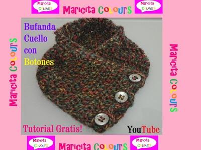"""Crochet Bufanda Cuello con Botones """"Odet"""" por Maricita Colours"""