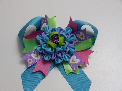 Diy flor kanzashi y moños en cinta gros para el cabello de niñas:- Hair bows kanzashi