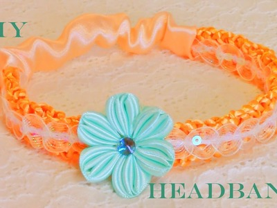 DIY  flores en diademas tejidas con los dedos - flowers in woven headbands with fingers