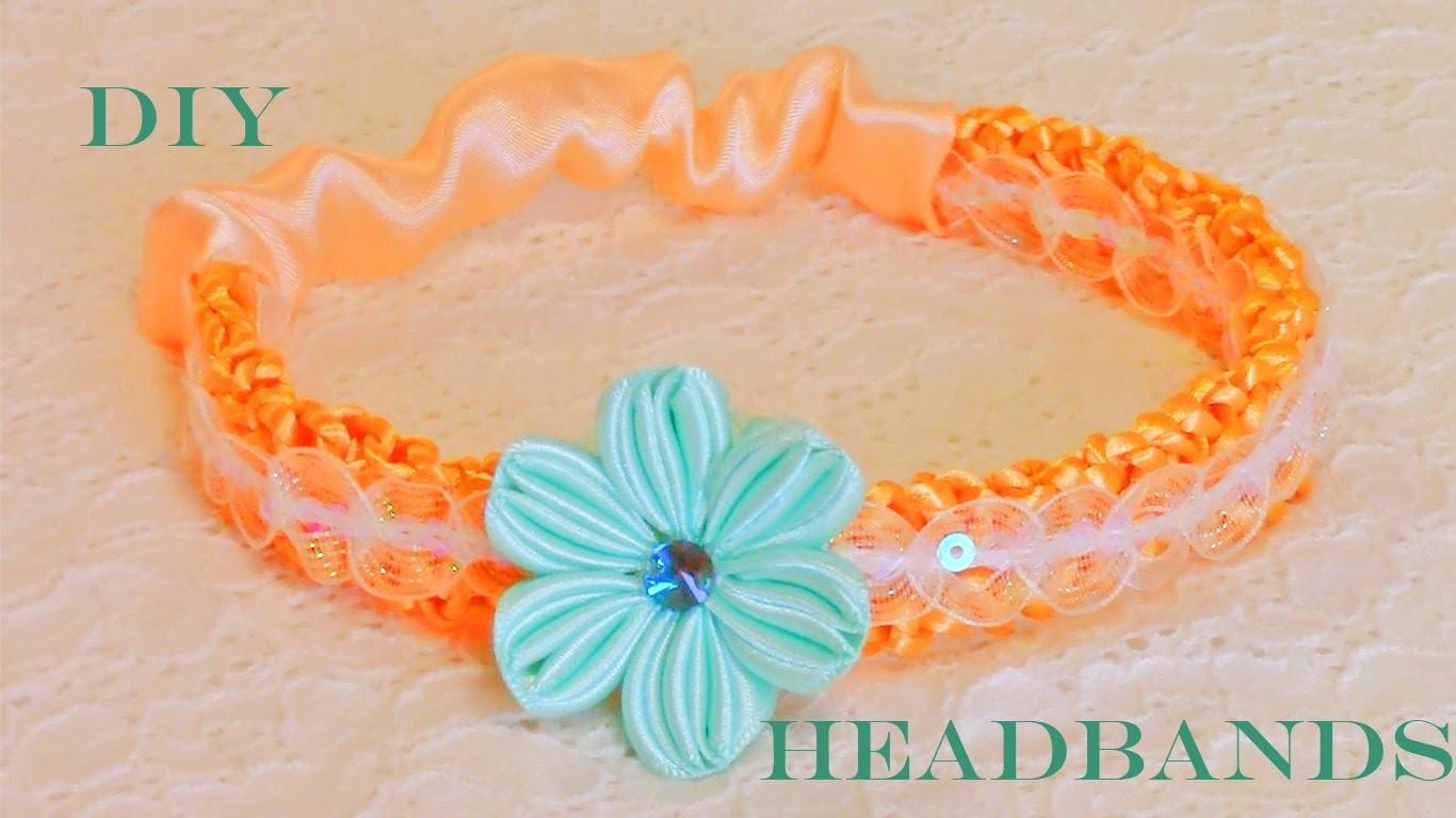 DIY  flores en diademas tejidas con los dedos - flowers in woven headbands with fingers