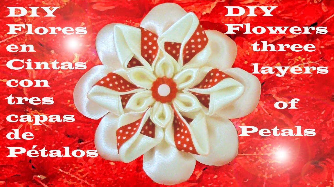 DIY flores kanzashi tres capas de pétalos -  flowers kanzashi three layers of petals