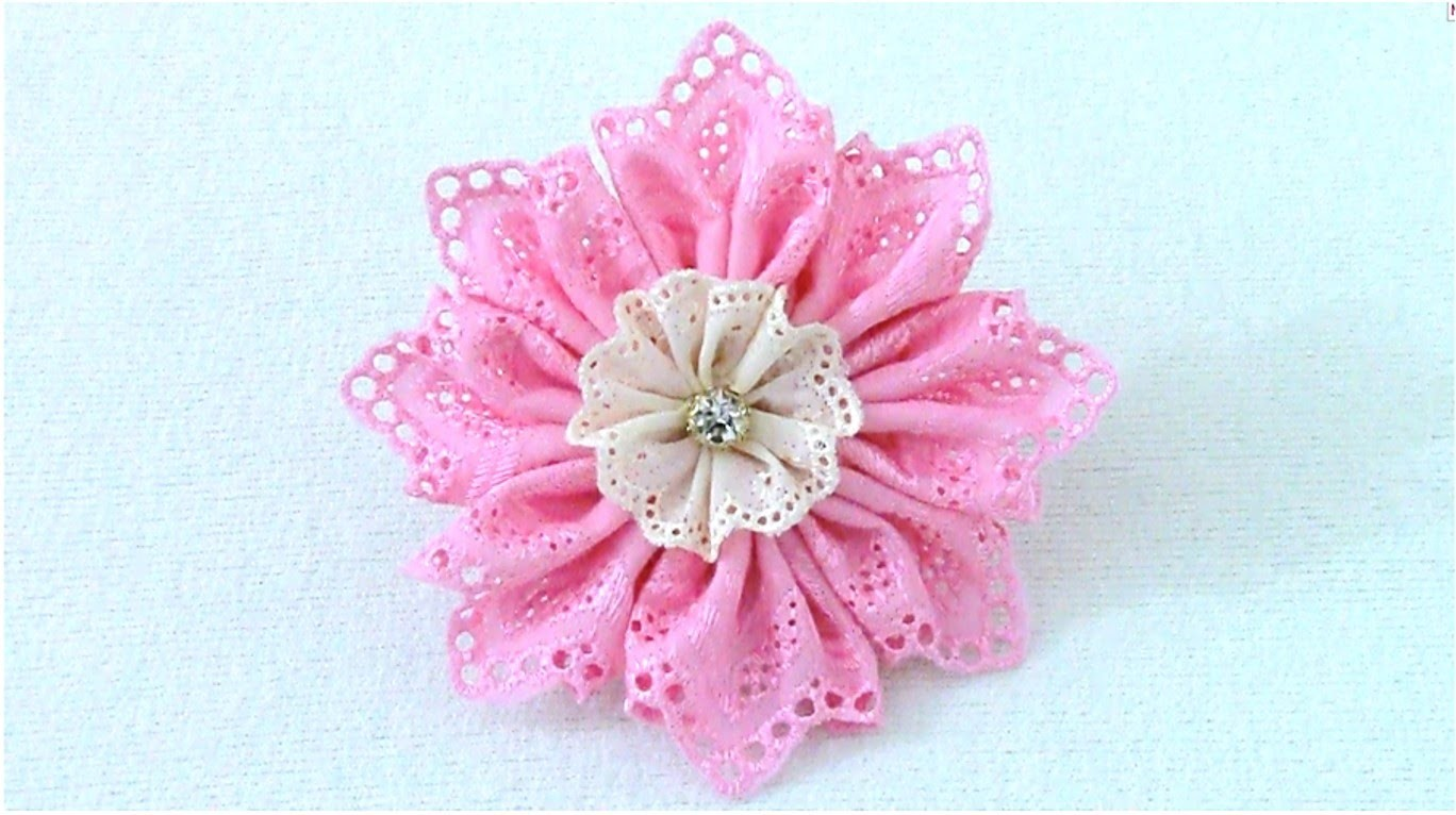 DIY Kanzashi Flores en cintas bordadas - Kanzashi flowers embroidered ribbons