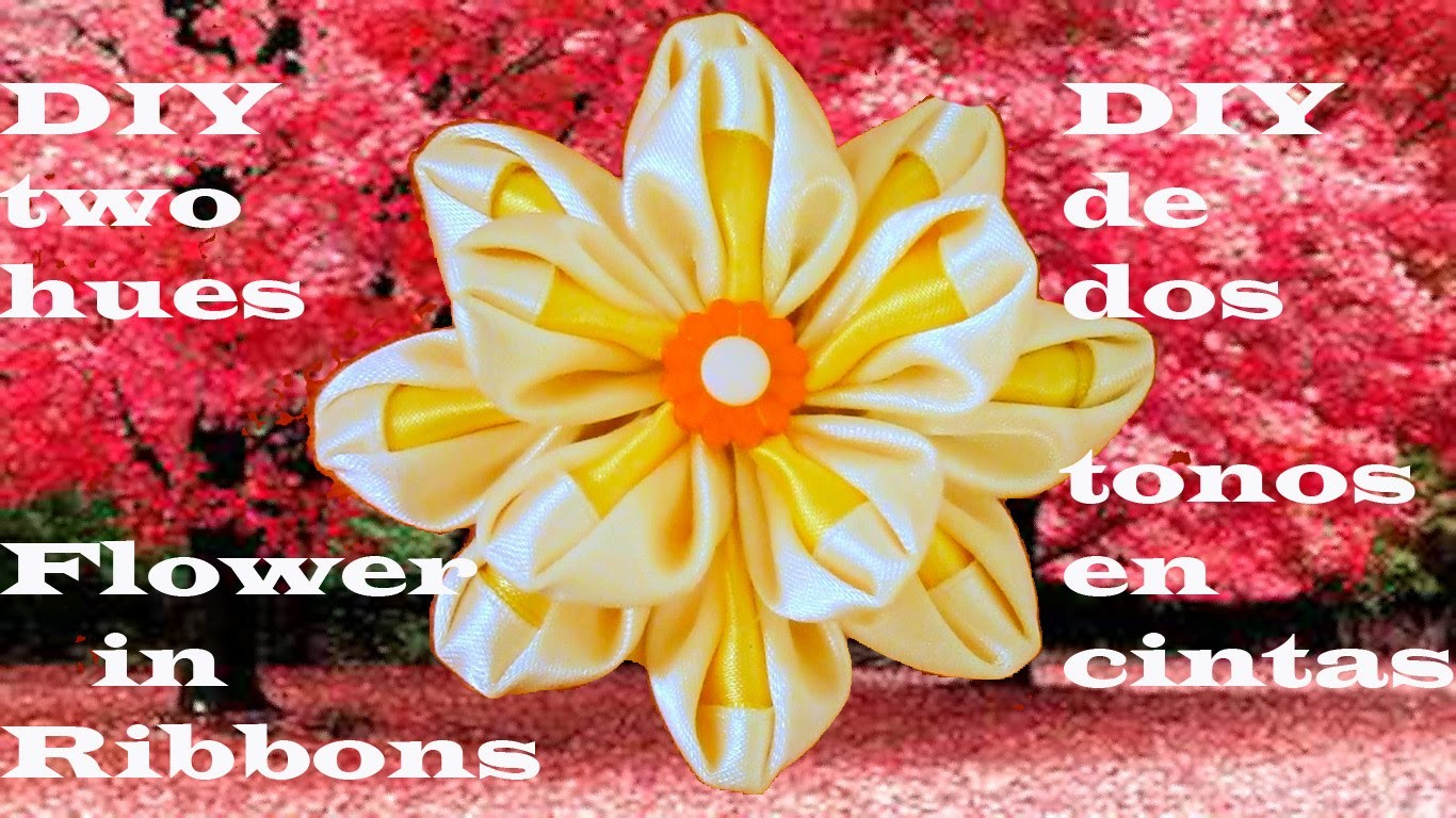 DIY  Kanzashi flores en dos tonos en cintas-DIY Two hues flowers in ribbons