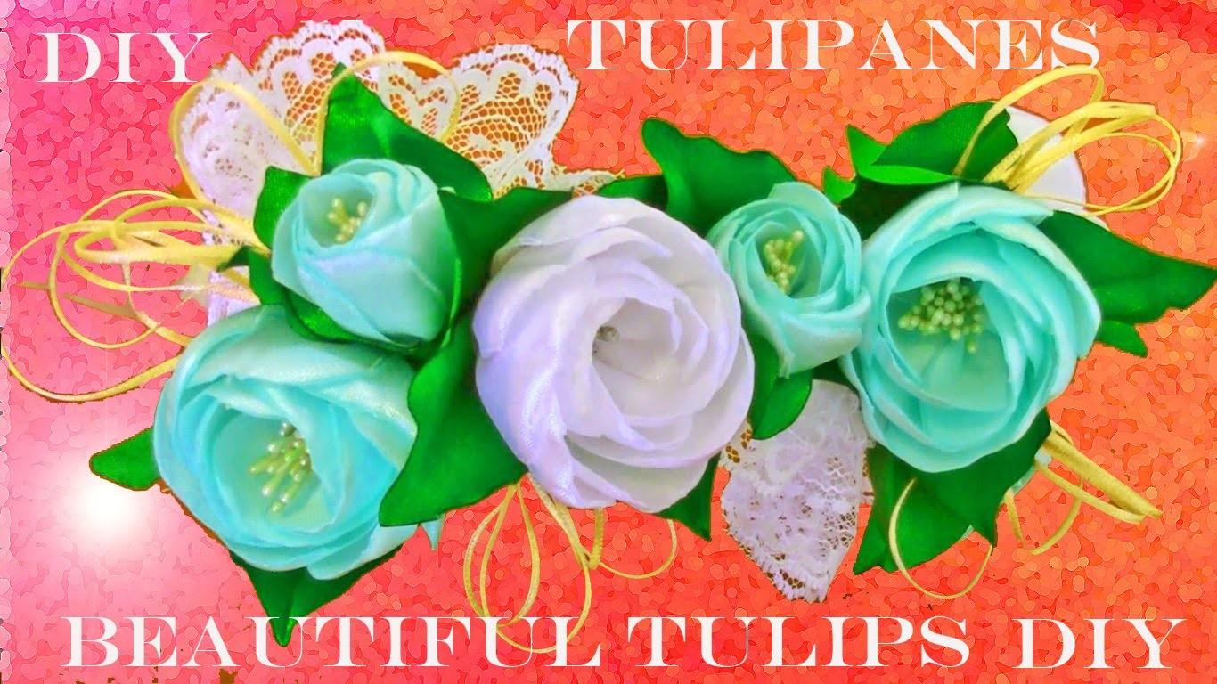 DIY tulipanes accesorios de moda hermosos en cintas para el cabello