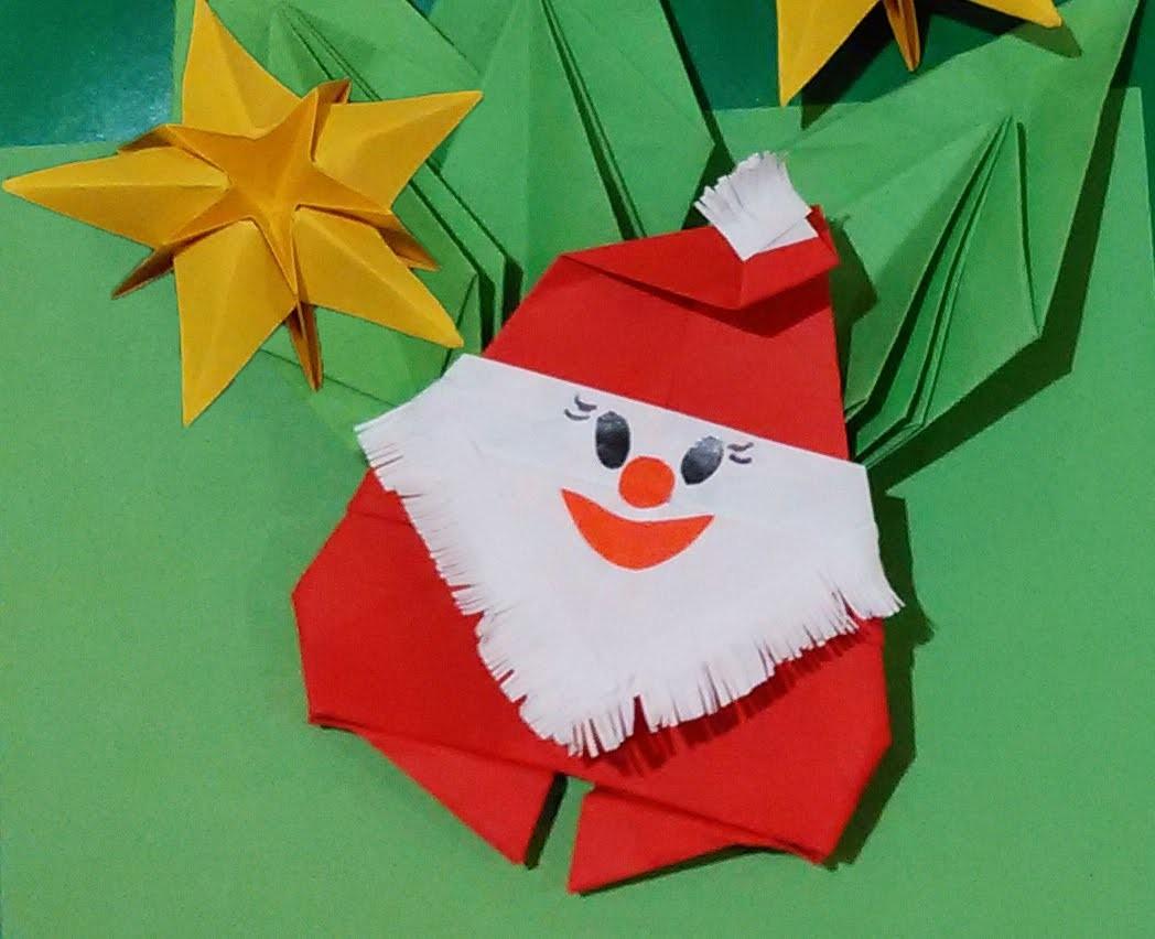 Easy to do Origami Santa Claus - Papai Noel de Origami. Paper Santa. Christmas room decorations.