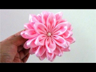 Flores Kanzashi de 36 pétalos en cintas para el cabello