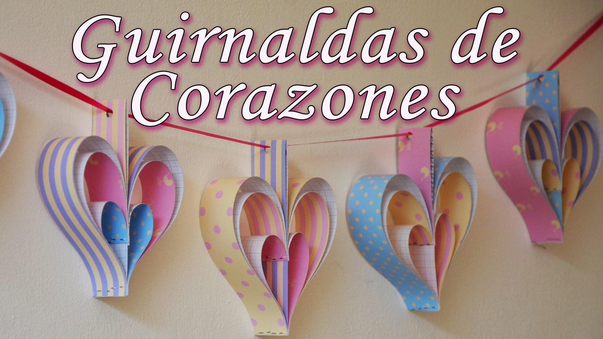 Manualidades: Decoración de fiestas - 2 guirnaldas de corazones [Fáciles] - Manualidades para todos