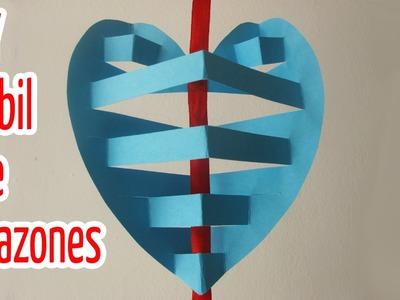 Manualidades :Móvil de corazones 3D - Manualidades para todos