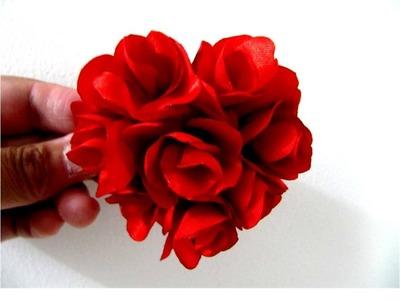 Moños corazón de rosas en telas para el cabello