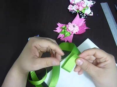 Moños de liston para niñas en flores kanzashi .hair accessories No.100