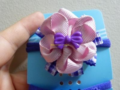 Moños flores en cinta  pequeños para decorar bandas elásticas para el cabello paso a paso