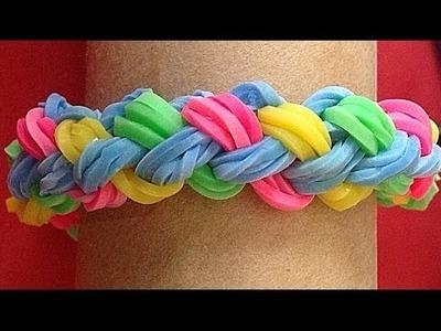Pulsera de gomitas o ligas doble trenza. Rainbow loom bracelet