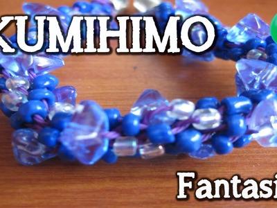 Pulsera redonda con piedras azules | Kumihimo | Tutorial | DIY