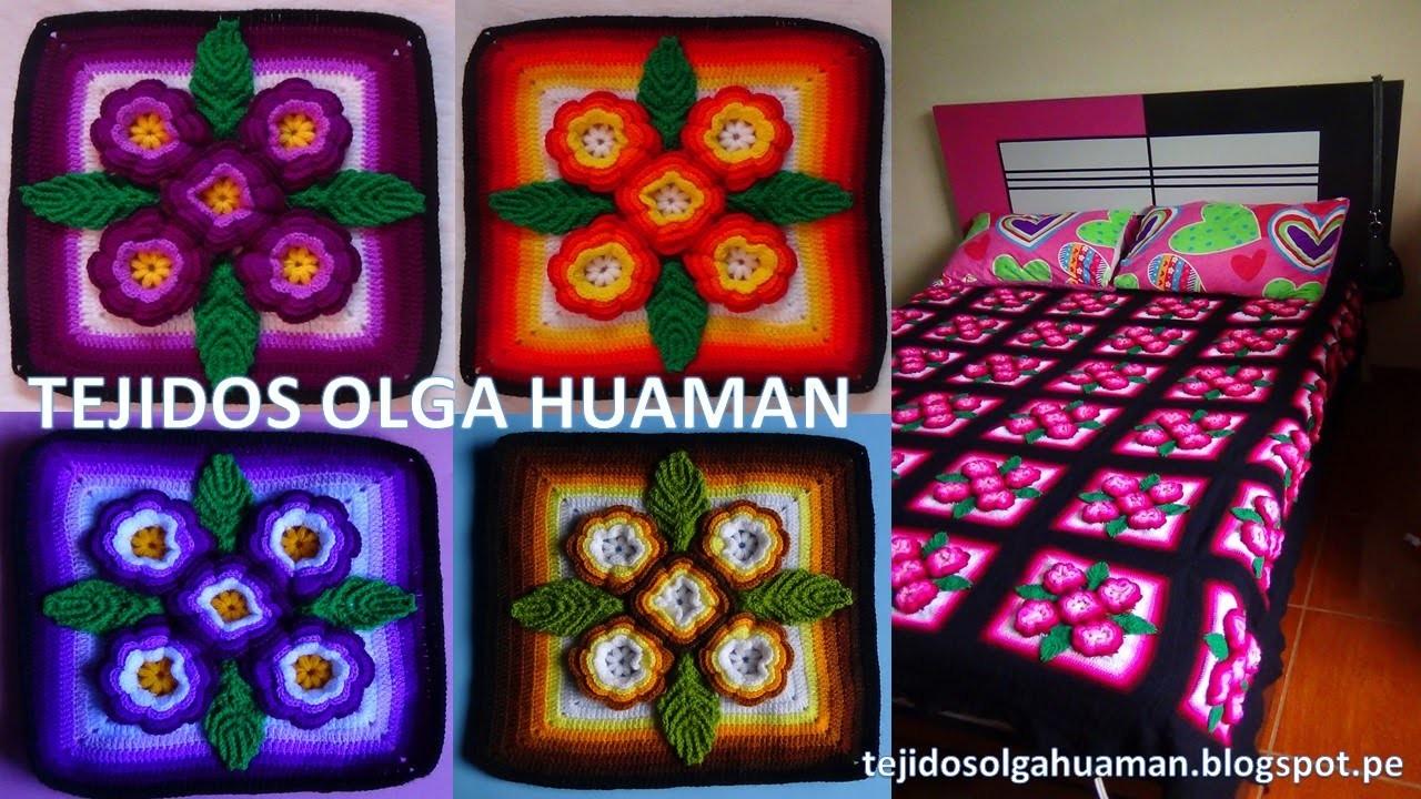Tejidos A Crochet Paso A Paso Muestra 5 Flores Para Colchas Video 2