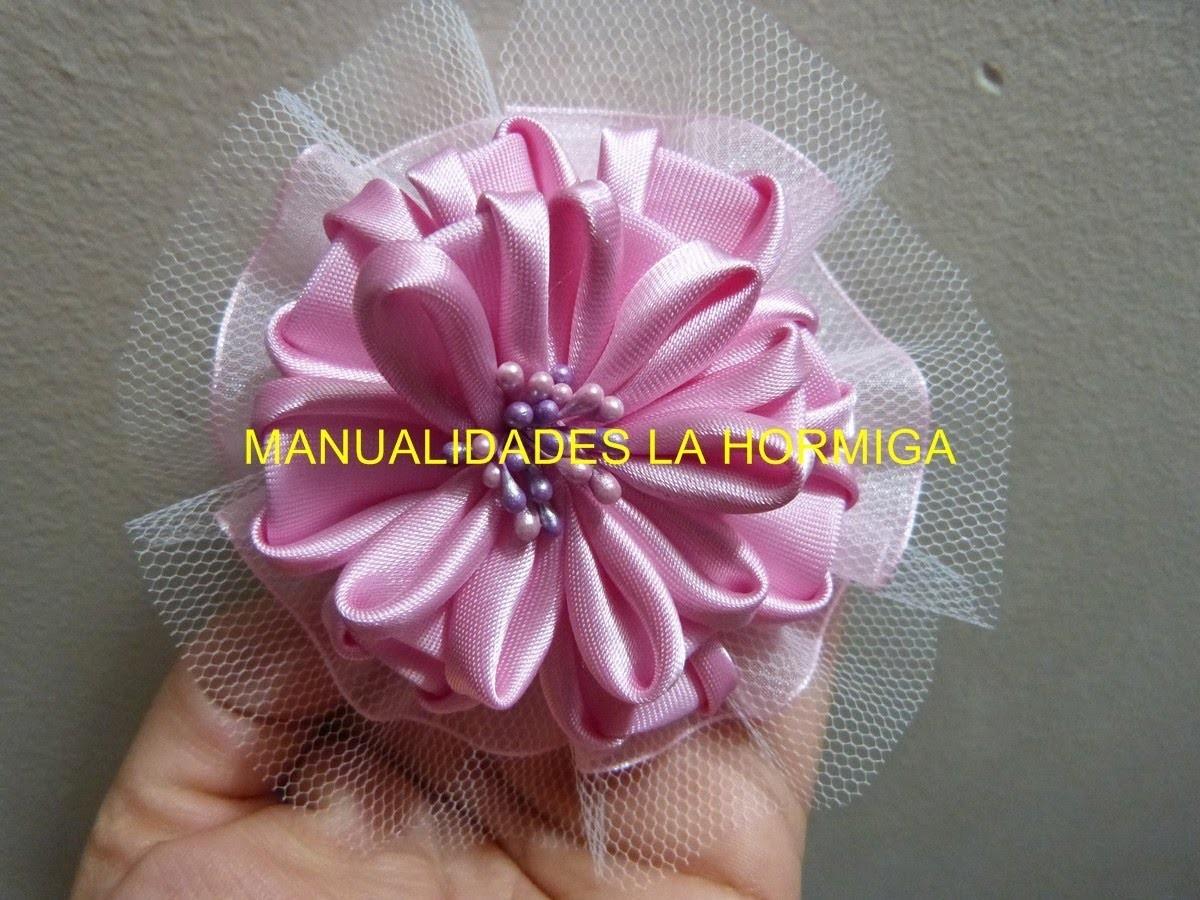 Tutorial moños lazos o flores Kanzashi  en tela satin para el cabello paso a paso video 240