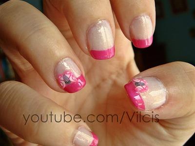 Tutorial uñas: polímero fimo mariposa rosa. Nail tutorial: fimo polymer clay pink butterfly
