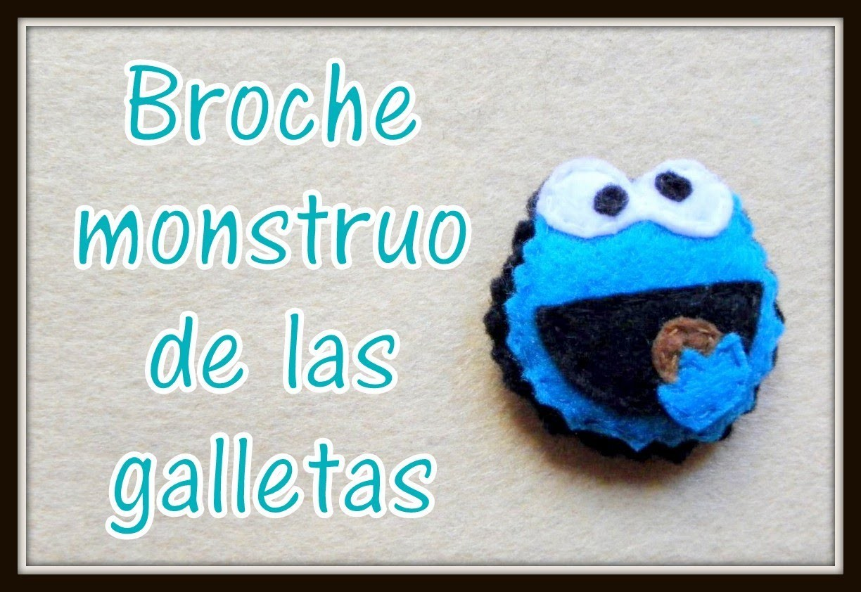 Broche de fieltro monstruo de las galletas - felt brooch Monster Cookies