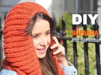 DIY Cómo hacer bufanda con capucha
