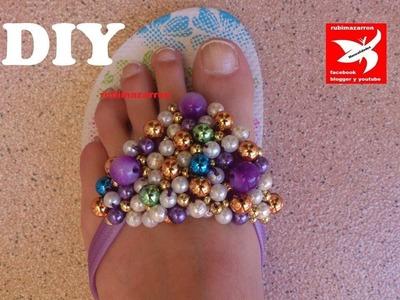 DIY.Decorar sandalias playeras de lujo.