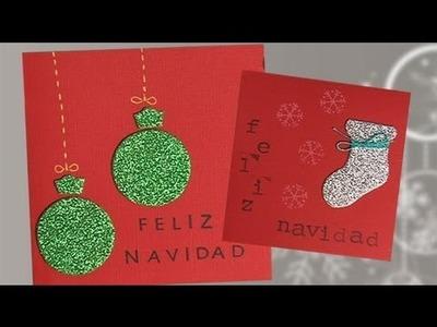 Postales de Navidad con purpurina, manualidades para niños