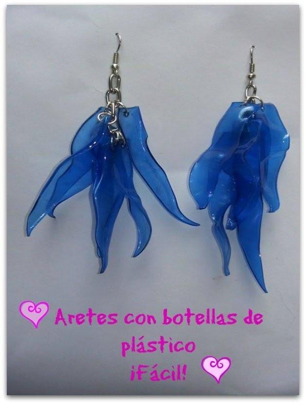 Aretes (zarcillos,aros, pendientes) con botella de plástico !!.Fácil.DIY.Reciclaje