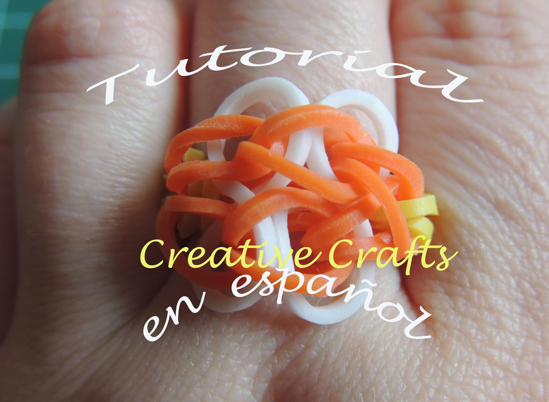 Como hacer un anillo de gomitas Rainbow Loom Butterfly Blossom.