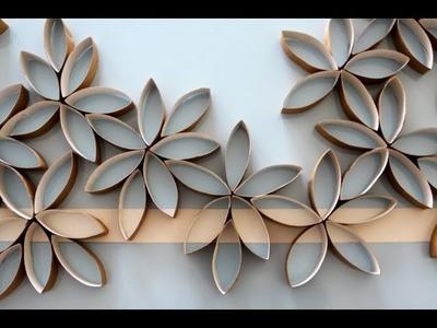 Flores de papel hechas con rollos de papel del baño (DIY)