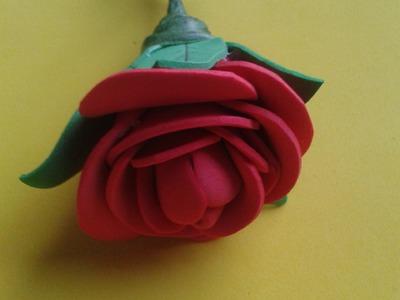 Manualidades-rosa de goma eva paso a paso (rose foami)