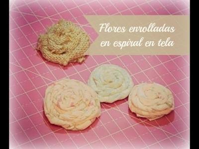 Tutorial flores enrolladas en espiral de tela