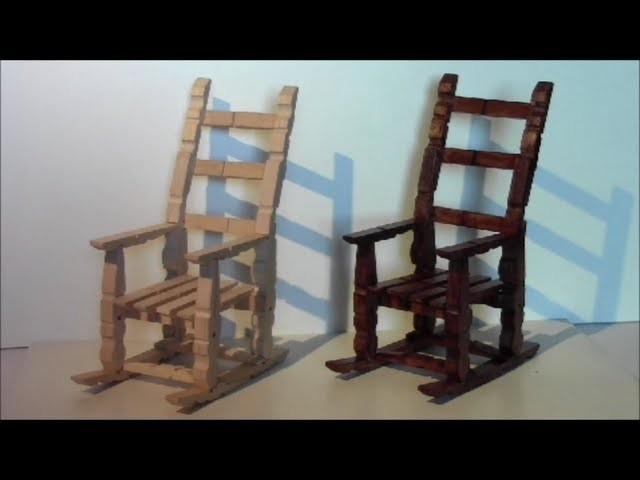 Tutorial para hacer una mecedora con pinzas de madera. make a rocking chair with wooden pegs