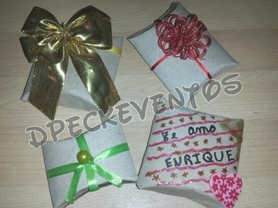 Cajitas de regalos o souvenirs hechas con tubos o rollos de carton - tutorial