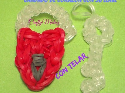 ♥ CANDADO DE CORAZON CON SU LLAVE DE GOMITAS (CON TELAR)