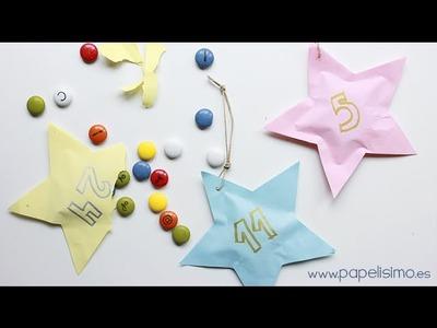Cómo hacer calendario Adviento de estrellas de papel 2014