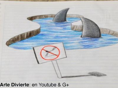 Dibujo anamórfico: ¡Dibujando tiburones 3D en mi cuaderno! - Arte Divierte.