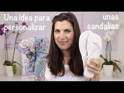 Idea para customizar o personalizar unas sandalias con un pañuelo DIY