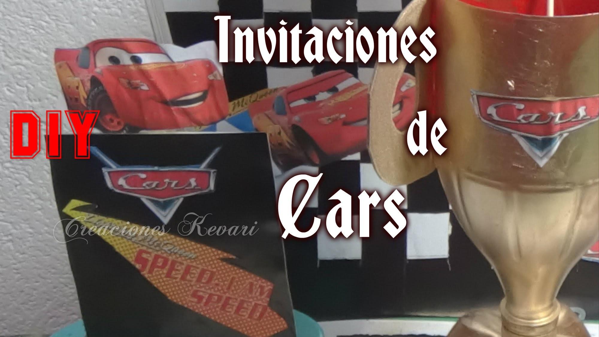 Invitaciones de Cars DIY Faciles. Cars Birthday Invitations