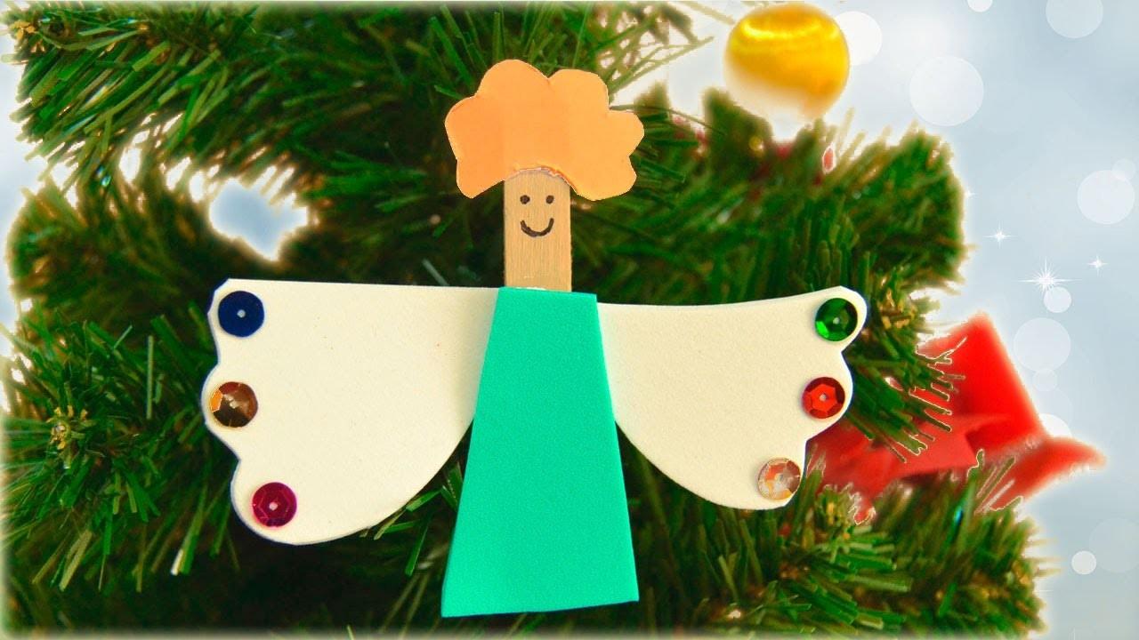 Manualidad de ángel en una pinza para decorar tu árbol de Navidad