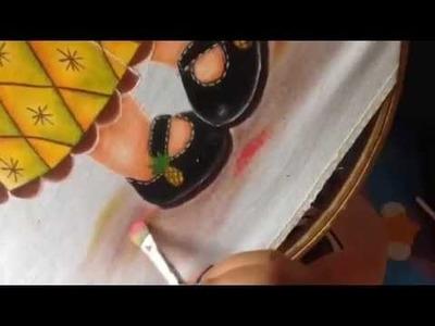 Pintura en tela niña piña # 6 con cony