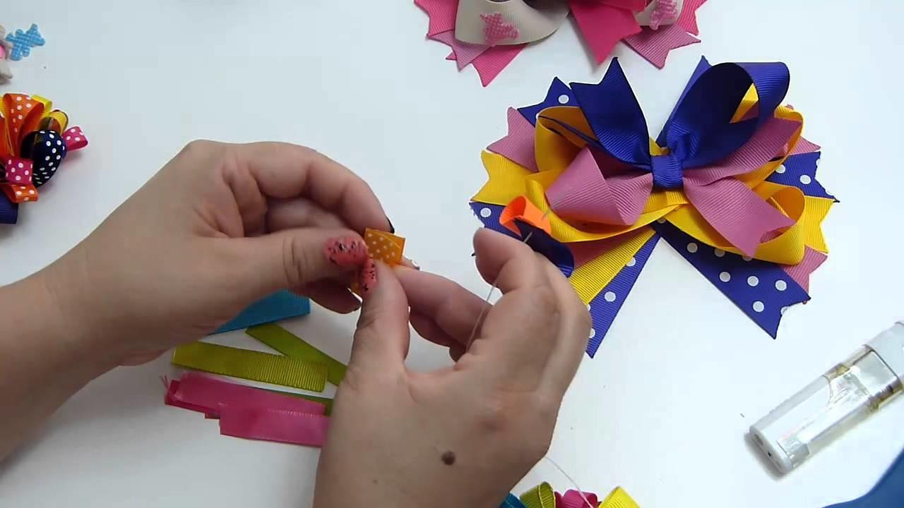 Pom Pom  en cinta gros  para decorar lazos para el cabello.  Pom Pom en cintas