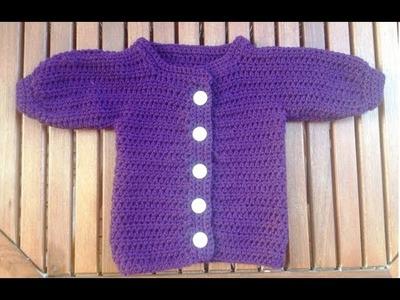 Tejer chaqueta de bebe a croché - Parte 2, parte delantera derecha con subtitulo de BerlinCrochet