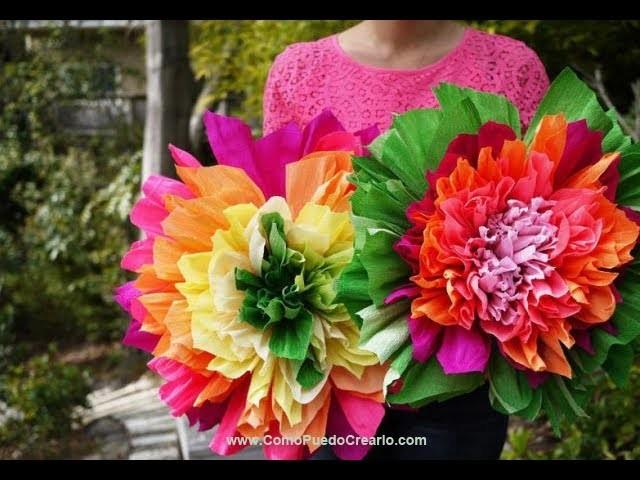 Como Hacer Flores de Papel Crepe Facil