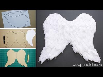Disfraces caseros: Alas de ángel de niño de papel y cartón