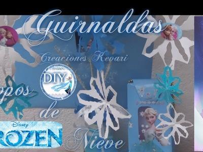 Guirnaldas Copos de Nieve Frozen (DIY).Snowflake Garland