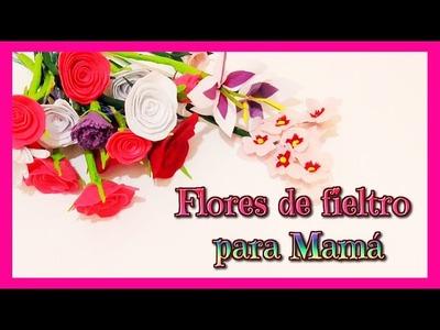 Ideas para regalar día de la madre, flores de fieltro rosa, clavel, lirio y almendro Isa ❤️