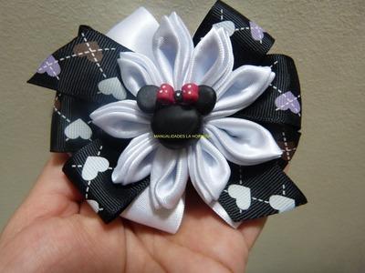 Tutorial moños  y flores en cinta para el cabello paso a paso.Manualidadeslahormiga