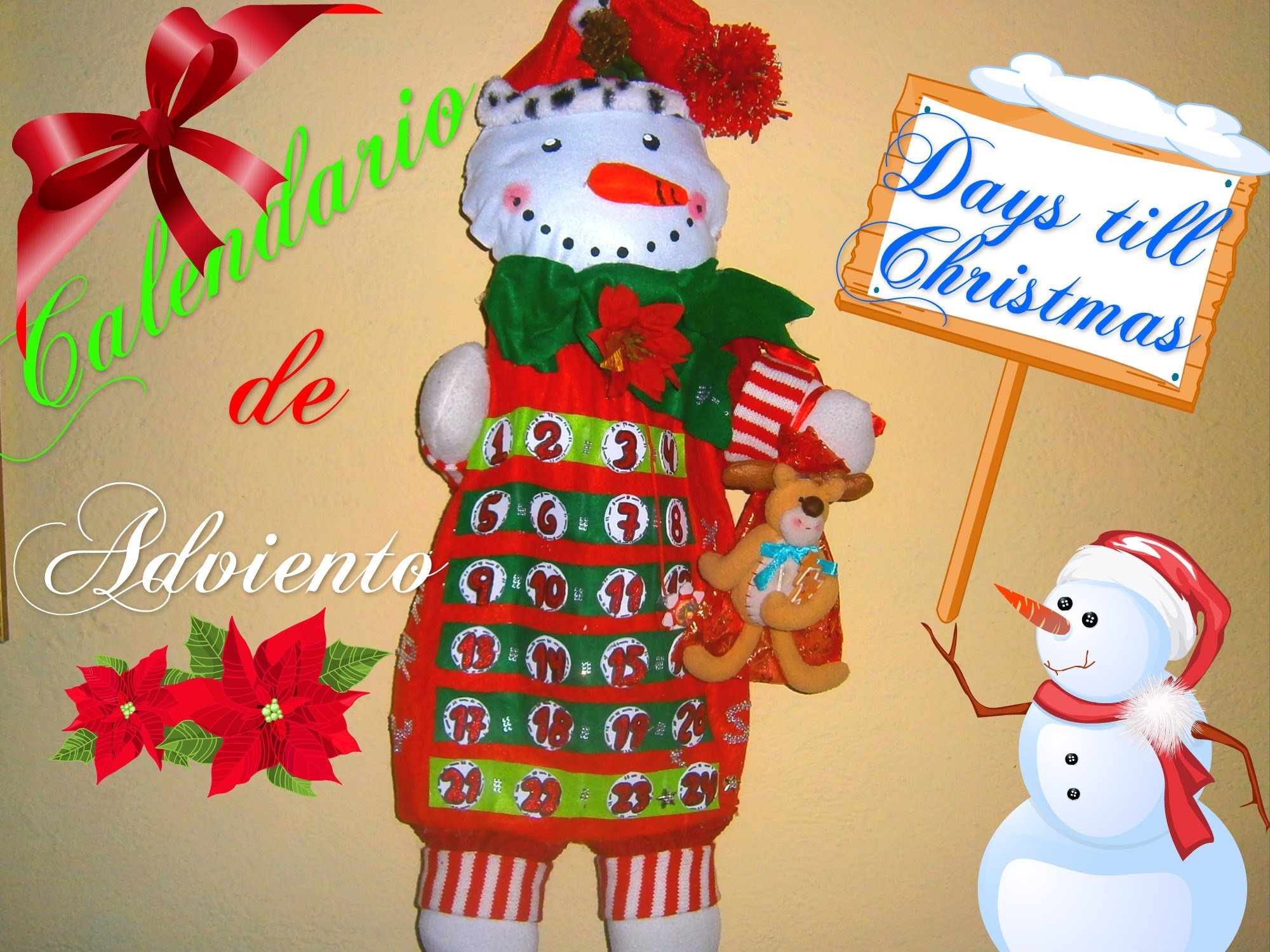 Calendario de Adviento en fieltro (muñeco de Nieve).DIY Holiday Advent Calendar